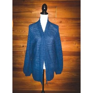 WILD FABLE Blue Knit Open Cardigan